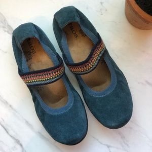 TAOS Blue Suede/Colorful Mary Jane Ballet Flats 7